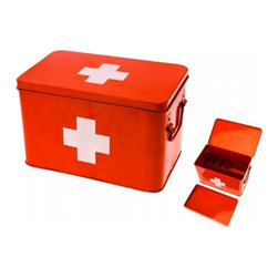 Red Cross Medicine Storage Box - Keep your stock of band-aids, sunblock, bug repellent and other cottage necessities stylishly stored in this retro-inspired Red Cross medicine box.