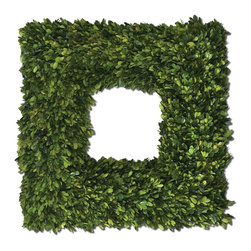 Uttermost - Square Wreath Preserved Boxwood - Preserved While Freshly Picked, Natural Evergreen Foliage Looks And Feels Like Living Boxwood.