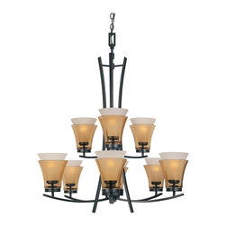 Designers Fountain - Designers Fountain 83189-ORB 9-Light Chandelier - Oil Rubbed Bronze Finish, Clear Champagne & Frosted White Glass Glass/Shade