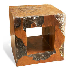 Kathy Kuo Home - Macarans Modern Rustic Chunky Teak Wood Cube Side Table - It's a cube side table with a completely out-of-the-box design! The unique aesthetic of the polished reclaimed teak wood and cast resin, which resembles a wide veined granite, could be an exciting signature piece in you bedroom, living room, or reception space. Use these as bedside tables in your Asian style bedroom of neutral colors, or next to a side chair with modern clean lines.