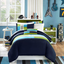 Mizone - Mizone Pipeline Comforter Set - Pipeline is a casual comforter that offers a bit of an urban feel. The navy blue is pieced with khaki, teal, and green micro-fiber. There is added twill tape details, along with top stitching that adds design and value. The reverse of the comforter is a solid navy blue color. One decorative pillow is also included in the set. The comforter will fit a Twin or Twin XL size bed. Comforter/Sham: 85gsm polyester microfiber, printed, solid microfiber reverse, 200g polyester filling Pillow: polyester cover and polyester filling