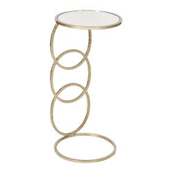 Worlds Away - Worlds Away 3 Ring Hammered Silver Leaf Round Cigar Table  LOLA S - Worlds Away 3 Ring Hammered Silver Leaf Round Cigar Table  LOLA S