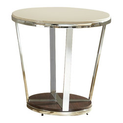 """Steve Silver Company - Steve Silver Company Bosco Faux Marble Round End Table in Espresso - Steve Silver Company - End Tables - BC300E - Chrome faux marble and wood combine for the Bosco Collection for a contemporary retro-modern style. The Bosco end table stands 24"""" high with a 24"""" round top a chrome frame  and a dark wood bottom . This eye-catching piece complements the Bosco cocktail table and sofa tables."""