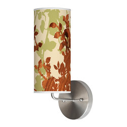 jefdesigns - Leaf 1 Wall Sconce - The lovely leaves on this wall sconce, in contrasting tones of wood grain and pale green, will add peacefulness and beauty to any room in your house. Turn this light on and enjoy the shadow effect on the shade, as well as the illumination this lamp will afford your home.