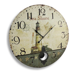 Zeckos - Antique Finish Seashore Lighthouse Wall Clock with Pendulum 23 In. - This seashore clock adds a finishing touch to rooms with nautical or beach themed decor, featuring images of a lighthouse, a ship's wheel, and a conch shell with an allover distressed finish. It measures 23 inches in diameter and has large, easy-to-read black numbers and hands to mark the time. The clock contains a quartz movement, runs on 2 AA batteries (not included), and has a metal pendulum. It looks great in rooms with tall ceilings, and it makes a lovely housewarming gift for friends and family.