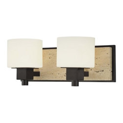 Bathroom Light with White Glass in Aged Stone Finish -
