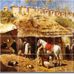Picture-Tiles, LLC - Blacksmith Shop At Tangiers Tile Mural By Edwin Weeks - * MURAL SIZE: 32x48 inch tile mural using (24) 8x8 ceramic tiles-satin finish.
