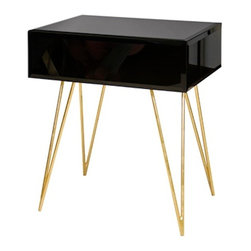 Worlds Away - Worlds Away Debra Black Glass Nightstand with Gold Hairpin Legs - Worlds Away Debra Black Glass Nightstand with Gold Hairpin Legs