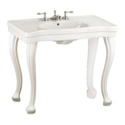 "Renovators Supply - Console Sinks Bone China Belle Epoque Sink 4 Provincial Legs 8"" - Console Sinks: BELLE EPOQUE DELUXE. Captures the elegance of the Belle Epoque period. Spacious countertop, elegantly curved PROVINCIAL legs, self-draining soap dish, protective splashguard rim. Grade A vitreous china construction with a SCRATCH & STAIN resistant  finish. Accepts an 8 in. widespread faucet sold separately. Measures 33 1/4 in. H x 35 1/2 in. W front x 19 3/4 in. proj."