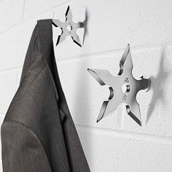 Ninja Star Coat Hook - Next time you face a random ninja attack you'll be prepared. Until then, use your shuriken throwing star to hang up your hat.