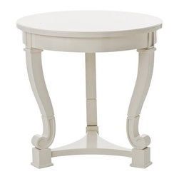 ARTERIORS Home - End Table - A round side table with cabriole legs and scroll feet, the Dorothy by Arteriors get a mod makeover with glossy parchment lacquer. The combination of a contemporary white finish with classic design creates a whimsical accent piece ideal for transitional interiors. Features: -Solid wood.-Distressed: No.Dimensions: -28'' Dia x 27'' H.-Overall Product Weight: 32.56 lbs.