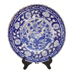 """Oriental furnishings - 14"""" Blue and White Oriental Painted Floral Plate with Stand - Our pie crust Chinese porcelain plate is hand painted in a regal blue & white floral design. It comes with a FREE rosewood stand for optimal visual appeal. Display this exquisite Asian treasure in your dining room, on a buffet when a visual accent is needed. Add another selection to your order from our wide array of Chinese porcelain values. Don't delay. Hand painted imports like one sell quickly. 14"""" diameter x 1 1/2"""" thick."""
