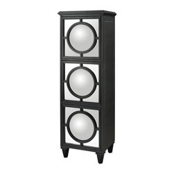 Sterling Industries - Convex Mirror Shelf Unit in Gloss Black - Convex Mirror Shelf Unit in Gloss Black