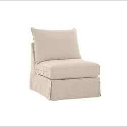 """PB Comfort Square Arm SectionalArmless Chair Knife-EdgeWashed Linen-CottonStoneS - Designed exclusively for our versatile PB Comfort Square Sectional Components, these soft, inviting slipcovers retain their smooth fit and remove easily for cleaning. Left Armchair with Box Cushions is shown. Select """"Living Room"""" in our {{link path='http://potterybarn.icovia.com/icovia.aspx' class='popup' width='900' height='700'}}Room Planner{{/link}} to select a configuration that's ideal for your space. This item can also be customized with your choice of over {{link path='pages/popups/fab_leather_popup.html' class='popup' width='720' height='800'}}80 custom fabrics and colors{{/link}}. For details and pricing on custom fabrics, please call us at 1.800.840.3658 or click Live Help. Fabrics are hand selected for softness, quality and durability. All slipcover fabrics are hand selected for softness, quality and durability. {{link path='pages/popups/sectionalsheet.html' class='popup' width='720' height='800'}}Left-arm or right-arm{{/link}} is determined by the location of the arm as you face the piece. This is a special-order item and ships directly from the manufacturer. To see fabrics available for Quick Ship and to view our order and return policy, click on the Shipping Info tab above. Watch a video about our exclusive {{link path='/stylehouse/videos/videos/pbq_v36_rel.html?cm_sp=Video_PIP-_-PBQUALITY-_-SUTTER_STREET' class='popup' width='950' height='300'}}North Carolina Furniture Workshop{{/link}}."""