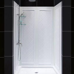"""DreamLine - DreamLine SlimLine 36"""" by 48"""" Single Threshold Shower Base and - DreamLine combines a SlimLine shower base with coordinating shower backwall panels to create a convenient kit that can transform a shower space. The SlimLine shower base incorporates a low profile design for a sleek modern look. The wall panels have a tile pattern and are easy to install with a trim-to-size fit. Both the shower panels and shower base are made from durable and attractive Acrylic/ABS advanced materials. DreamLine kits offer an ideal solution for any bathroom renovation project. Items included: 36 in. x 48 in. Single Threshold Shower Base and QWALL-5 Shower Backwall KitOverall kit dimensions: 36 in. D x 48 in. W x 76 3/4 in. H36 in. x 48 in. Single Threshold Shower Base:,  High quality scratch and stain resistant acrylic,  Slip-resistant textured floor for safe showering,  Integrated tile flange for easy installation and waterproofing,  Fiberglass reinforcement for durability,  cUPC certified,  Drain not includedQWALL-5 Shower Backwall Kit:,  Color: White,  Assembly required,  Designed to be installed over existing finished surface (not directly against studs),  Includes 2 glass corner shelves,  Attractive tile pattern,  Unique water tight connection of panels,  Durable acrylic/ABS construction,  Trim-to-Size sidewall design,  Must be trimmed during installationProduct Warranty:,  Shower Base: Limited lifetime manufacturer warranty,  Shower Backwalls: Limited 1 (one) year manufacturer warranty"""