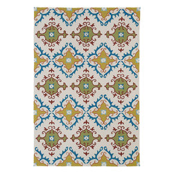 "Home and Porch 2030-01 Ivory Rug - Home & Porch is a beautiful and elegant collection produced to be a wonderful addition to any room in your home yet durable enough to be used outdoors. This collection is reflective of a more active lifestyle and invites the expansion of an indoor living space to the outdoors. Home & Porch is UV treated against excessive fading and is water protected. Handmade in China with 100% polypropylene and finished with our ""K-Stop"" Non-Skid backing."