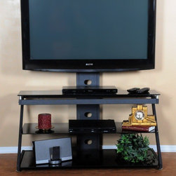 """Tier One Designs - 43"""" TV Stand - Organize your high tech, state of the art home electronics gear with this refined polished TV Mount. Mount features three tempered black glass shelves providing ample space to store audio and gaming components, DVD, docking stations and much more. The cord management system reduces unsightly wires. Accessories not included. Features: -Tempered black glass.-Fits great in corners.-Cord management system reduces unsightly wires.-Accessories not included.-Does not include TV hardware to mount TV or TV bracket.-8mm Tempered glass.-Holds up to a 60'' TVs.-Black finish.-Recommended TV Type: Flat screen.-TV Size Accommodated: Any.-Powder Coated Finish: No.-Gloss Finish: No.-Material: Glass and metal.-Distressed: No.-Exterior Shelves: Yes .-Drawers: No.-Cabinets: No.-Casters: No.-Cable Management: Yes.-Weight Capacity: 120 lbs.-Collection: Tier One Designs.-TV Swivel Base: No.-Integrated Flat Screen Mount: No.-Hardware Material: Stainless steel.Dimensions: -Overall Height - Top to Bottom: 31.5"""".-Overall Width - Side to Side: 43.3"""".-Shelving: -Shelf Height - Top to Bottom: 7.8"""".-Shelf Width - Side to Side: 43.3"""".-Shelf Depth - Front to Back (Middle) : 17.7"""".-Shelf Depth - Front to Back (Bottom) : 20""""..-Overall Product Weight: 72 lbs.Assembly: -Assembly Required: Yes.-Tools Needed: Tools included.-Additional Parts Required: No.Warranty: -Manufacturer provides 1 year warranty against defect.-Product Warranty: 1 year parts warranty."""