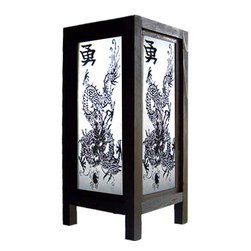 "Oriental-Decor - 11"" Paper Dragon Lamp - This awesome decorative lamp features an Asian dragon with Chinese character. Place it anywhere in home or office for fantastic Oriental decoration while enjoying its soft, white light."