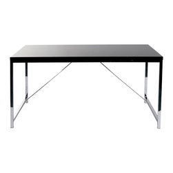Eurø Style - Gilbert Desk in  Black and Chrome - The Gilbert Desk by Eurø Style will be a nice addition to your home/office. The desk features high gloss lacquered MDF top supported by sturdy chromed steel base. Available in 2 finishes to suit your needs.