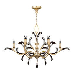 Fine Art Lamps - Beveled Arcs Gold Chandelier, 761640ST - A graceful flourish of vine-like golden curves with beveled crystal leaves lends this candelabra chandelier an art nouveau romance. Authentic-looking candle lights glow warmly against the soft gold-leaf finish. A golden loop top and a dangling crystal pendant add the final elegant touches. The horizontal design works great over tables and beds or for lower ceilings.