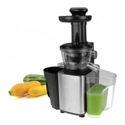 Kalorik - Kalorik Stainless Steel Slow Juicer - Juice and extract your favorite fruits and vegetables with the Kalorik Stainless Steel Slow Juice Extractor. With a large 1qt container for both juice and pulp, you can maximize the nutrients, ingredients, and taste to create more natural and healthier juices with no foam. The stylish stainless steel housing and rotary dial On/Off function saves time and money over traditional centrifugal juicers with easy assembly, cleaning, and storage. The four (4) suction feet, dishwasher safe detachable parts, and our Safety Lock system, make juicing safe and simple for the whole family! The extractor uses a durable and low-noise DC motor for perfect output with slow speeds of 80 RPM. More nutrients, more juice, and an energy-saving and quiet motor create better result and greater value. Includes a cleaning brush and is FDA approved.
