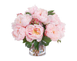 New Growth Designs - Peony Bouquet in Cylinder Vase, Pink - Symbols of romance and prosperity, peonies make the perfect floral touch for your favorite setting. But perhaps the best thing about this bouquet is it will last for happily ever after! So lifelike, you'll have to take a whiff to know they're silk.