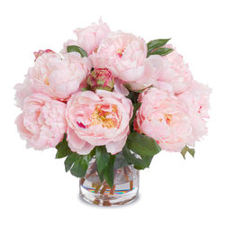 New Growth Designs - Faux Peony Bouquet in Cylinder Vase, Pink - Symbols of romance and prosperity, peonies make the perfect floral touch for your favorite setting. But perhaps the best thing about this bouquet is it will last for happily ever after! So lifelike, you'll have to take a whiff to know they're silk.
