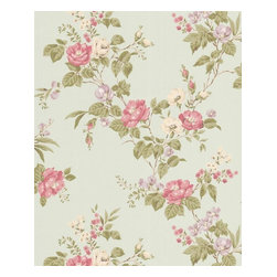 Graham and Brown - Cottage Garden Wallpaper - Duckegg/Pink - Cottage Garden wallpaper - beautiful climbing roses adorn this amazing floral wallpaper that will look fantastic on any wall.