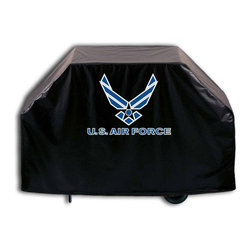 """Holland Bar Stool - Holland Bar Stool GC-AirFor U.S. Air Force Grill Cover - GC-AirFor U.S. Air Force Grill Cover belongs to Military Collection by Holland Bar Stool This U.S. Air Force grill cover by HBS is hand-made in the USA; using the finest commercial grade vinyl and utilizing a step-by-step screen print process to give you the most detailed logo possible. UV resistant inks are used to ensure exeptional durablilty to direct sun exposure. This product is Officially Licensed, so you can show your pride while protecting your grill from the elements of nature. Keep your grill protected and support your team with the help of Covers by HBS!"""" Grill Cover (1)"""