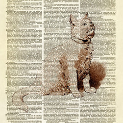 Altered Artichoke - Little Kitty Cat Dictionary Art Print, Sepia - This print features a beautiful antique illustration of a little kitty cat. He's yellow in the color version. Also available as a brown sepia print.