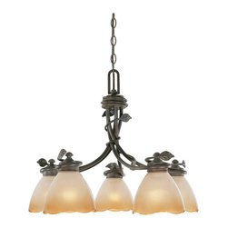 Designers Fountain - Designers Fountain 95686-OB 5-Light Down Chandelier - Old Bronze Finish, Sculpted Ochere Luster Glass/Shade Rustic charm with soft contemporary lines allows you to feel a sense of the outdoors.