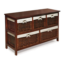 Badger Basket - Badger Basket Five Basket Storage Unit - 09061 - Shop for Cabinets from Hayneedle.com! Avoid the dreaded closet avalanche with the Badger Basket Five Basket Storage Unit. This handy unit adds plenty of quick clutter control to kids' rooms playrooms and entryways. It's built from durable wood and composite wood and comes in your choice of nontoxic finishes to match any space. The frame contains two large lower baskets that are perfect for extra bedding or larger toys as well as three upper baskets that can quickly contain small miscellanies. This simple basket-style structure keeps clutter not just contained but easily ordered as well instilling in your child a sense of tidy efficiency. Each basket has a removable washable liner inside.This unit wipes clean easily with a damp cloth. It does require some assembly with a screwdriver but illustrated instructions are included to make it simple. Measures 38.25L x 13W x 23.75H in. when completed.Additional Dimensions:Upper baskets: 11L x 12W x 9H in.Lower baskets: 17L x 12W x 9H in.Badger Basket CompanyFor over 65 years Badger Basket Company has been a premier manufacturer of baskets bassinets bassinet bedding changing tables doll furniture hampers toy boxes and more for infants babies and children. Badger Basket Company creates beautiful and comfortable products that are continually updated and refreshed bringing you exciting new styles and fashions that complement the nostalgic and traditional products in the Badger Basket line.