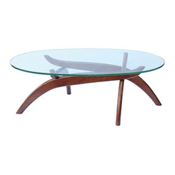 Lemoderno - Fine Mod Imports  Spider Coffee Table, Walnut - This table consists of 4 basic parts a beautiful glass top and 4 interlocking wood base pieces. This is very similar to other classic designs 15mm thick tempered glass Hardwood Base   Assembly Required