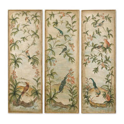 Uttermost - Aviary Vintage Art Panels Set of 3 - Add an elegant touch to your dining room or living room with a set of beautifully hand-painted wood panels. Gold leaf frames provide just a hint of glamour to the traditional aviary depiction captured on each canvas. Hang them as a tryptic and design your room around the rich color palette.