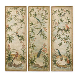 Aviary Vintage Art Panels, Set of 3