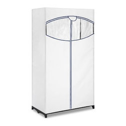 "Whitmor - Fabric Clothes Closet 36inch - Whitmor 36"" Fabric Clothes Closet - Dimensions: 19.38"" x 36"" x 64"" - Easy no-tool assembly.  Bungee cord tubes.  Breathable fabric cover with easy access zipper and see through window.  Center support provides increased hanging strength.  This item cannot be shipped to APO/FPO addresses. Please accept our apologies."