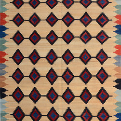 "ALRUG - Handmade Beige/Peach Oriental Kilim  6' 10"" x 9' 11"" (ft) - This Afghan Kilim design rug is hand-knotted with Wool on Wool."