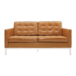 LexMod - Florence Style Loveseat in Tan Genuine Leather - The mid-20th century was a time when hopes were at their highest. Technological developments were bustling forward, and the new world was just barely visible in the distance. But this time also presented a dilemma of sorts. The test of this forthcoming era was to be whether industry would foster comfort or stifle it.