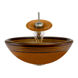 MR Direct - MR Direct 615 Hand Painted Glass Sink, Brushed Nickel, 4 Items: Vessel Sink, Wat - Make a personal design statement with the MR Direct 615 ensemble; a distinctive, vessel-sink and waterfall-faucet combination. MR Direct glass vessel sinks are created of thick, tempered glass, making them less vulnerable to damage from high temperatures. The non-porous, polished surface is extremely attractive and sanitary; naturally resistant to stains, odors and discoloration. The waterfall faucet features solid-brass construction and a matching glass disc, over-which water lightly cascades into the vessel bowl. Water flow and temperature are easily controlled with the extended swivel handle. The ensemble includes a specially-designed, vessel pop-up drain that springs into place with a gentle touch. A matching sink ring is also provided for support of the bowl – required for the above-counter installation. Available in your choice of Brushed Nickel, Chrome, and Oil Rubbed Bronze finishes. Limited Lifetime Warranty.