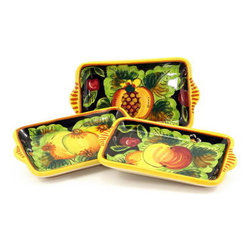 Artistica - Hand Made in Italy - Geribi: Simple Butter Tray Black Fruits - Geribi: Simple butter tray Black Fruits: Please Note: Above price is for one item. Multiple items shown because this Geribi product is manufactured with random designs.