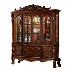 ACME - Acme Dresden Hutch and Buffet in Brown Cherry Oak - Featuring hand carved old world details and luxurious accents, this Dresden Buffet and Hutch by Acme is sure to make a bold statement in your grand dining room. The pieces are crafted with the finest solid woods with veneers in cherry finish and enhanced by remarkable marquetry and generously carved wood elements throughout the pieces. It is designed with glass doors, two glass shelves, one fixed shelf and mirrored back. Perfect for displaying your valuable china, glassware and more. The buffet features plenty of storage options with door cabinets and drawers. Doors and drawers are ornamented with antique, decorative hardware. Spice up your dining room with these magnificient pieces!