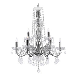 Elegant 9 Light Crystal Chandelier H32XW26 Lighting Fixture Pendant Ceiling Lamp - A Great European Tradition. Nothing is quite as elegant as the fine crystal chandeliers that gave sparkle to brilliant evenings at palaces and manor houses across Europe. This unique version from the Royal Collection features glass tube arms.The timeless elegance of this chandelier is sure to lend a special atmosphere anywhere it is placed!