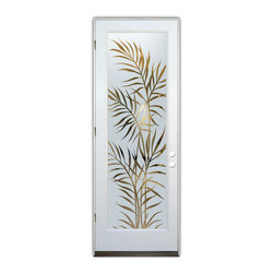 Sans Soucie Art Glass (door frame material Plastpro) - Glass Front Entry Door Sans Soucie Art Glass Ferns - Sans Soucie Art Glass Front Door with Sandblast Etched Glass Design. GET THE PRIVACY YOU NEED WITHOUT BLOCKING LIGHT, thru beautiful works of etched glass art by Sans Soucie!  THIS GLASS IS SEMI-PRIVATE.  (Photo is View from OUTside the home or building.)  Door material will be unfinished, ready for paint or stain.  Bronze Sill, Sweep.  Satin Nickel Hinges. Available in other finishes, sizes, swing directions and door materials.  Tempered Safety Glass.  Cleaning is the same as regular clear glass. Use glass cleaner and a soft cloth.