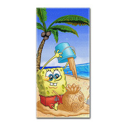 SpongeBob - Nickelodeon's SpongeBob Sand Castles Bob Beach Towel - Get ready to spend a relaxing day at the beach with this SpongeBob towel! Featuring an absorbent construction and colorful design, it's sure to become a staple on any afternoon outing.   28'' x 58'' 100% cotton Machine wash Imported