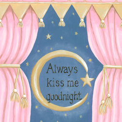 Nursery Wall Art by Sherri Blum for Oopsy Daisy - Always Kiss Me Goodnight nursery wall art for baby or canvas wall art for kids by Sherri Blum for Oopsy Daisy Art. Beautiful sentiment on kids canvas art that makes a perfect nursery wall hanging for your baby's nursery.  Available in blue, pink and green. By Sherri Blum, celebrity nursery designer and owner of Jack and Jill Boutique. Variety of sizes.