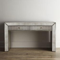 Horchow - Shilo Mirrored Console - Sleek, slender console with beading and silver-leaf finish adds shimmer and shine wherever you place it. Elegant in an entryway, hallway, or behind a sofa, we think it adds romance as a vanity dressing table as well. Made of select hardwoods and mirro...