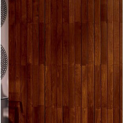 Bali Northern Heights Wood Vertical Blinds - These blinds have a natural look that can compliment contemporary or more traditional decor. I like the way they look staggered, like installed wood flooring.