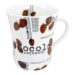 Konitz - Set of 4 Mugs Chocolatte - A mug dedicated solely to hot chocolate! The contemporary style of the Chocolatte Mug consists of white porcelain, scattered cocoa beans, and black lettering that reads 'Chocolatte.' Enjoy your cocoa at home with this set of trendy mugs.