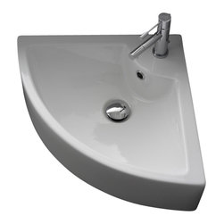 Scarabeo - Square White Ceramic Wall Mounted or Vessel Corner Sink, One Hole - Modern design white ceramic corner sink. Vessel or above counter bathroom sink with single hole and overflow. Made in Italy by Scarabeo.