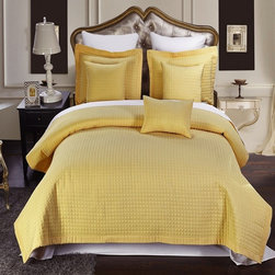 Royal Tradition - RT Luxury Checkered Quilted Microfiber 3 Piece Coverlet Set-Gold - Luxury Checkered Quilted Wrinkle Free Microfiber 3 Piece Coverlet Set- Gold-Experience the comfort and soft touch feel as if these linens were made from Egyptian Cotton. This Coverlet Set is made of 100% high strength Microfiber wrinkle free yarns that will stay soft for years to come.  Machine Washable